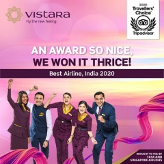 Vistara Named The 'Best Airline – India' By Tripadvisor Travellers' Choice Awards