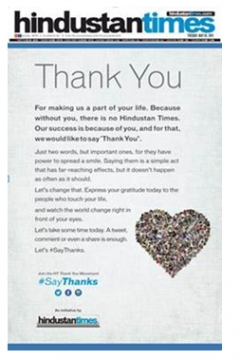 Hindustan Times makes the country #SayThanks