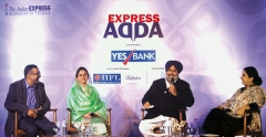 Sukhbir Singh Badal and Harsimrat Kaur Badal attend Indian Express Adda