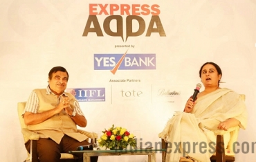 Nitin Gadkari takes questions at Express Adda