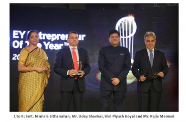 Uday Shankar bags Entrepreneurial CEO category award at the EY Entrepreneur of the Year 2016