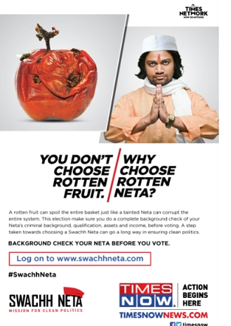 TIMES NOW announces 'Swachh Neta', a voter welfare initiative