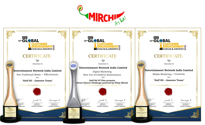 Mirchi Bags Three Awards at the ACEF Global Customer Engagement Forum and Awards