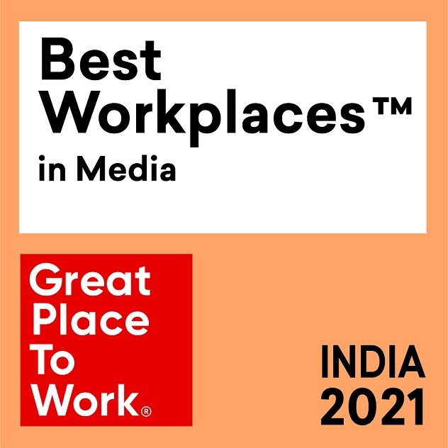 """Jagran New Media recognized as """"India's Best Place to work in Media"""" for the year 2021 by the """"Great Place to Work Institute""""."""
